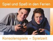 Zwei männliche Teenager, die PS4-Controller in der Hand halten.