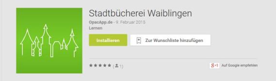 Stadtbücherei-App im Google Play Store